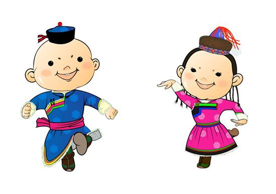 吉祥物名为蒙古彩娃,是以蒙古族儿童为创意原型,设计了一对俏皮图片