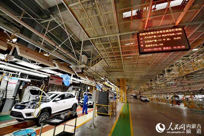 奇瑞汽车公司生产车间一角